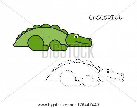 Crocodile coloring book teaches children that looks like a crocodile and what color is it.Vector illustration of cute ornate zentangle crocodile coloring page