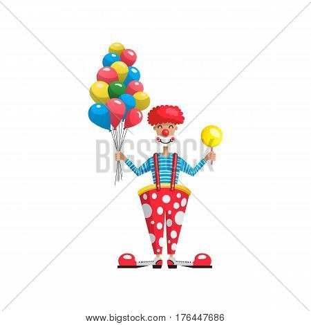 Actor in the role of a clown, working as an animator for childrens parties and shows, entertaining children. Vector cartoon illustration of a showman.