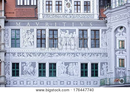 DresdenGermany-January 42017: Langer Gang (long corridor) a long arcaded open structure connects Johanneum with Georgenbau - central building of Royal Palace. It was constructed in 16th century to house horses