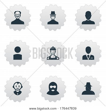 Vector Illustration Set Of Simple Avatar Icons. Elements Spy, Job Man, Agent And Other Synonyms Proletarian, Worker And Whiskers.