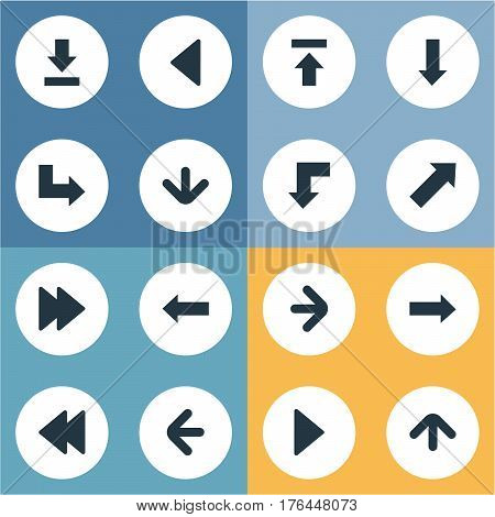 Vector Illustration Set Of Simple Cursor Icons. Elements Upward Direction, Rearward, Pointer And Other Synonyms Download, Right And Upload. poster