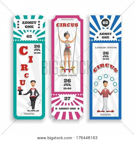 Design of entrance tickets to the circus, vector illustration cards of three types