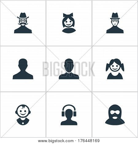 Vector Illustration Set Of Simple Member Icons. Elements Job Man, Girl Face, Spy And Other Synonyms Mustache, Business And Felon.