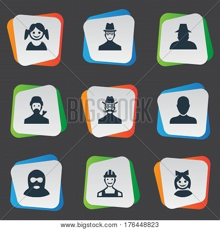Vector Illustration Set Of Simple Member Icons. Elements Agent, Little Girl, Felon And Other Synonyms Mustache, Little And Detective.