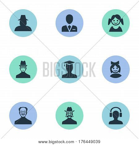 Vector Illustration Set Of Simple Human Icons. Elements Whiskers Man, Spy, Little Girl And Other Synonyms Headphone, Student And Agent.