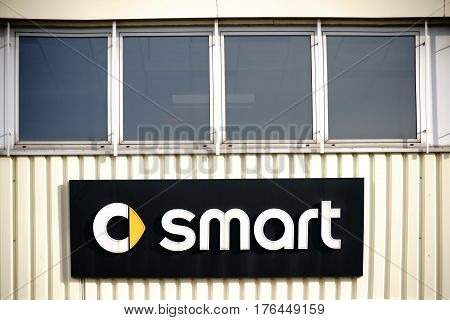 MAINZ, GERMANY - MARCH 10: The facade of the dealership of the car brand Smart with logo on March 10, 2017 in Mainz.