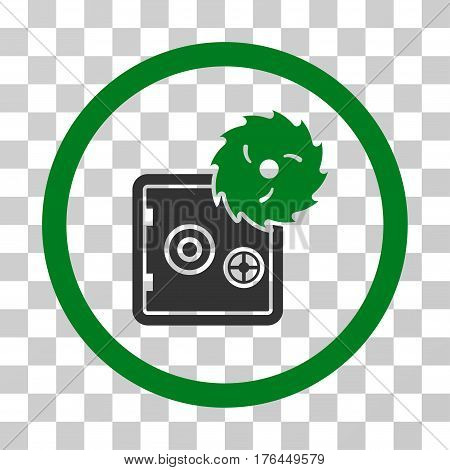 Break Safe icon. Vector illustration style is flat iconic bicolor symbol green and gray colors transparent background. Designed for web and software interfaces.
