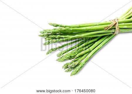 Fresh asparagus on white background and clipping paths.