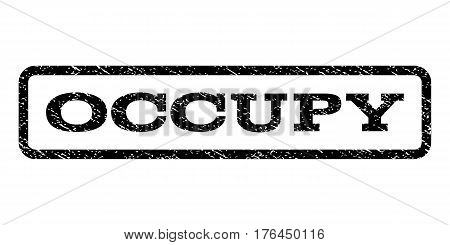 Occupy watermark stamp. Text tag inside rounded rectangle with grunge design style. Rubber seal stamp with dirty texture. Vector black ink imprint on a white background.