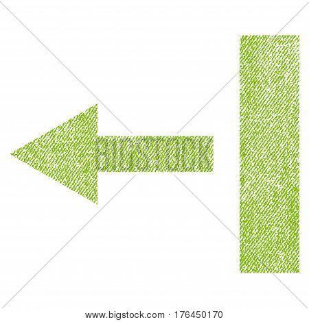 Pull Left vector textured icon for overlay watermark stamps. Fabric light green vectorized texture. Symbol with scratched design. Rubber seal stamp with fiber textile structure.
