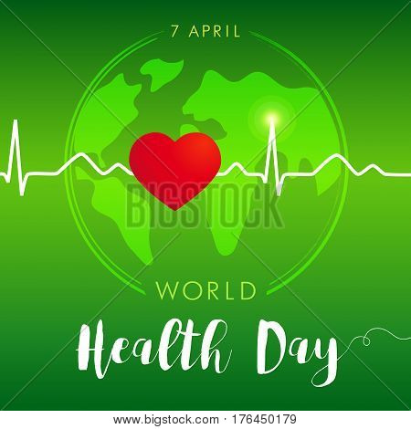 World Health Day card green. Globe and normal cardiogram as a vector concept for World Health Day. Poster for 7 April, World Health Day