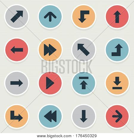 Vector Illustration Set Of Simple Arrows Icons. Elements Upward Direction, Rearward, Right Direction And Other Synonyms Left, Decline And Rearward.