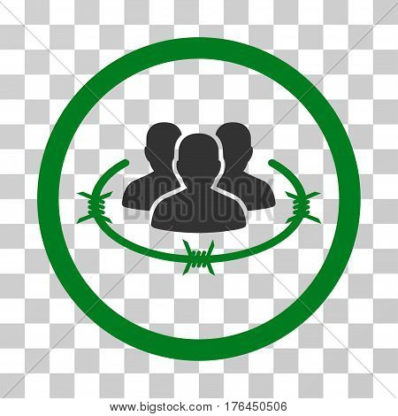 Concentration Camp icon. Vector illustration style is flat iconic bicolor symbol green and gray colors transparent background. Designed for web and software interfaces.