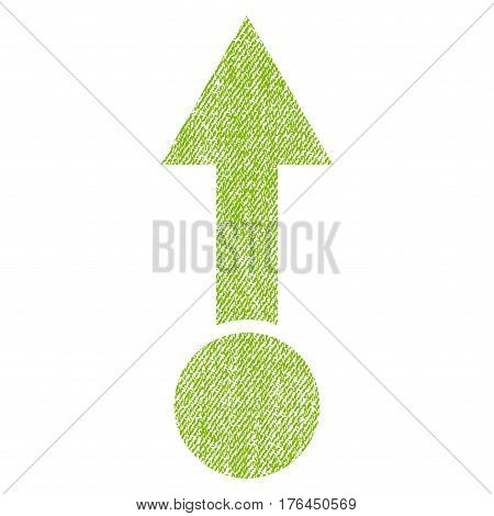 Pull Up vector textured icon for overlay watermark stamps. Fabric light green vectorized texture. Symbol with dirty design. Rubber seal stamp with fiber textile structure.