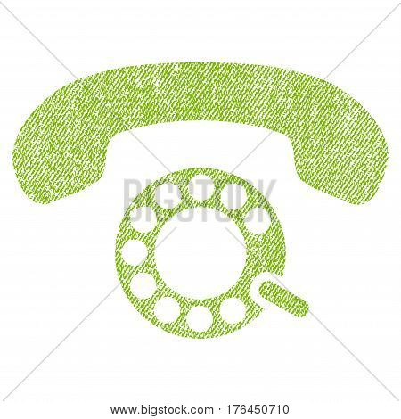 Pulse Dialing vector textured icon for overlay watermark stamps. Fabric light green vectorized texture. Symbol with scratched design. Rubber seal stamp with fiber textile structure.