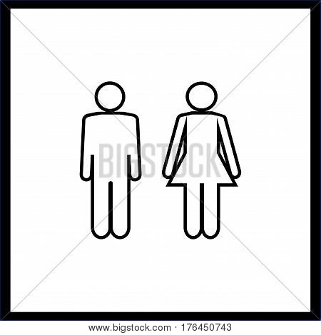 Black silhouette men and women on white background. WC icon. Icon public toilette and bathroom for hygiene. Sign restroom women and men. Template for poster sign. Flat vector image Vector illustration