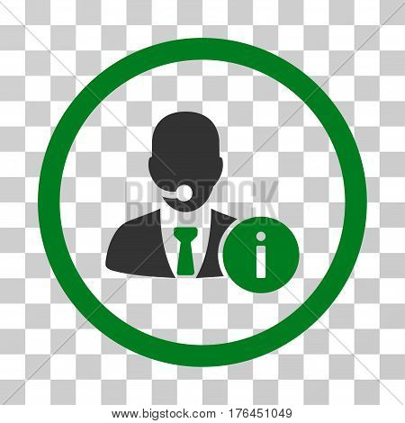 Help Desk Manager icon. Vector illustration style is flat iconic bicolor symbol green and gray colors transparent background. Designed for web and software interfaces.