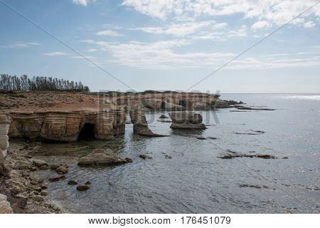 View to the open sea and sheer island coastline. Mediterranean island of Cyprus. Concept travel.