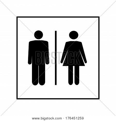 White silhouette men and women icon in white square. Sign restroom women and men. Icon public toilette and bathroom for hygiene. Template for postersign. Flat vector image. Vector illustration