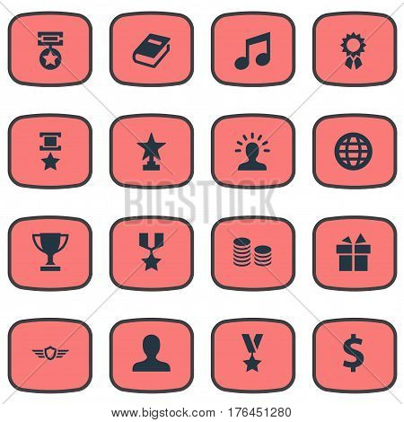 Vector Illustration Set Of Simple Champ Icons. Elements Literature, User, Trophy And Other Synonyms Gift, Achievement And Reward.