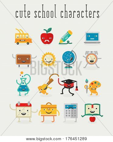 Education and school cute characters for mobile apps. Flat design vector illustration online web banners. Cute funny kawaii collection