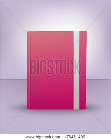 Realistic 3D pink book. Diary, notebook, art notebook. Mock Up of books. Vector illustration