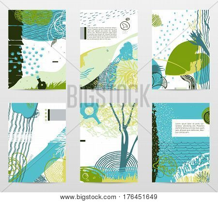 Vector collecion of neo-grunge style abstract backgrounds, made with hand drawn textures and brushes