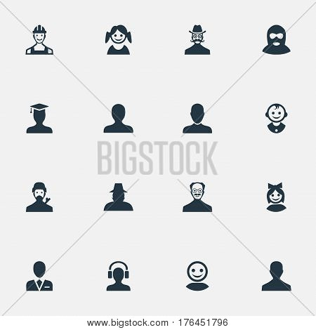 Vector Illustration Set Of Simple Human Icons. Elements Felon, Male User, Young Shaver And Other Synonyms Male, Postgraduate And Mysterious.