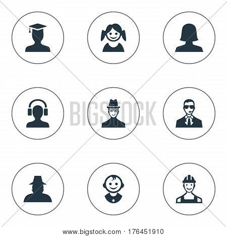 Vector Illustration Set Of Simple Human Icons. Elements Agent, Bodyguard, Male With Headphone And Other Synonyms Small, Bodyguard And Postgraduate.