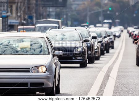 Congested lane with queue of cars in Moscow