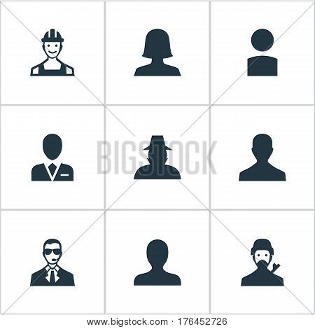 Vector Illustration Set Of Simple Human Icons. Elements Agent, Mysterious Man, Insider And Other Synonyms Agent, Profile And User.