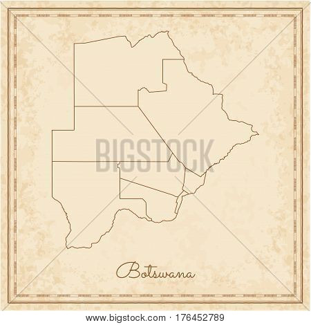Botswana Region Map: Stilyzed Old Pirate Parchment Imitation. Detailed Map Of Botswana Regions. Vect