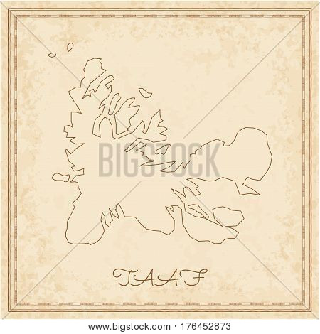 Taaf Region Map: Stilyzed Old Pirate Parchment Imitation. Detailed Map Of Taaf Regions. Vector Illus