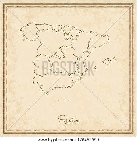 Spain Region Map: Stilyzed Old Pirate Parchment Imitation. Detailed Map Of Spain Regions. Vector Ill