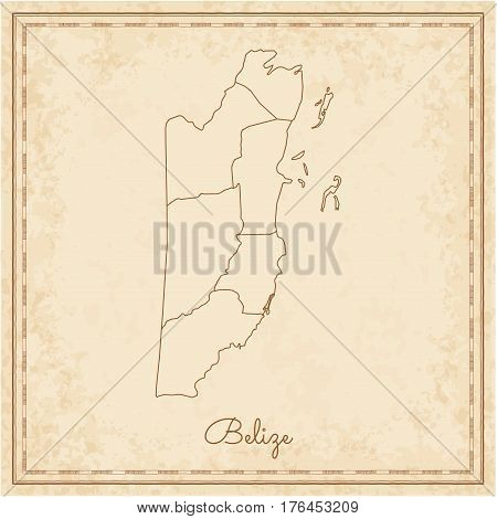 Belize Region Map: Stilyzed Old Pirate Parchment Imitation. Detailed Map Of Belize Regions. Vector I