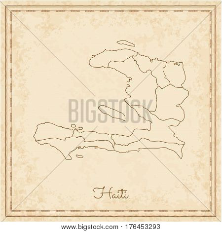 Haiti Region Map: Stilyzed Old Pirate Parchment Imitation. Detailed Map Of Haiti Regions. Vector Ill