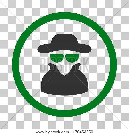Spy icon. Vector illustration style is flat iconic bicolor symbol green and gray colors transparent background. Designed for web and software interfaces.