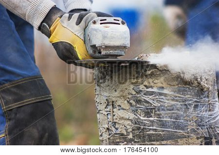 Circular saw - sawdust flying around, close up