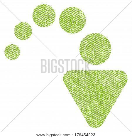 Redo vector textured icon for overlay watermark stamps. Fabric light green vectorized texture. Symbol with unclean design. Rubber seal stamp with fiber textile structure.