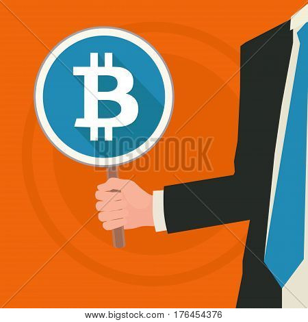 business man holding a bitcoin sign, conceptual business illustration: we accept bitcoins