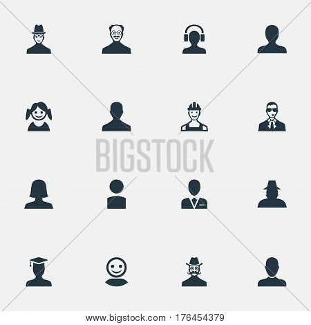 Vector Illustration Set Of Simple Avatar Icons. Elements Agent, Portrait, Job Man And Other Synonyms Bodyguard, Daughter And Security.