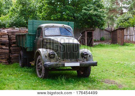 The old Soviet lorry truck in village