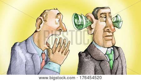 Man cries out to another who does not hear him because he has the ears full of banknotes