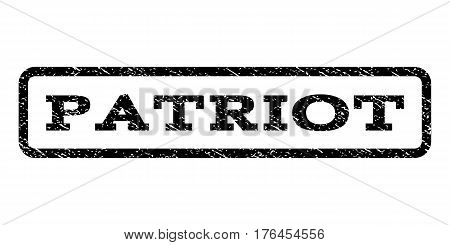 Patriot watermark stamp. Text tag inside rounded rectangle with grunge design style. Rubber seal stamp with dust texture. Vector black ink imprint on a white background.