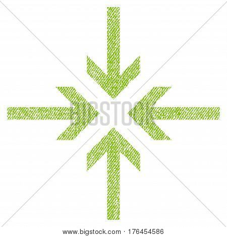 Reduce Arrows vector textured icon for overlay watermark stamps. Fabric light green vectorized texture. Symbol with unclean design. Rubber seal stamp with fiber textile structure.