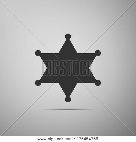 Hexagram sheriff star badge flat icon on grey background. Vector Illustration