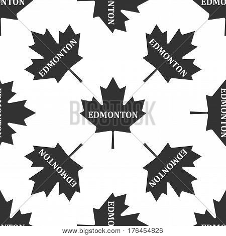 Canadian maple leaf with city name Edmonton icon seamless pattern on white background. Vector Illustration