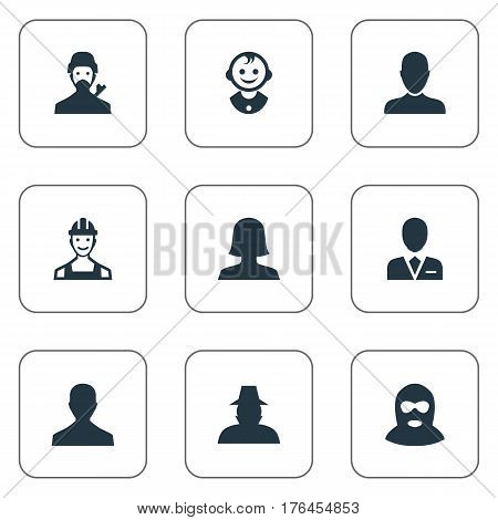Vector Illustration Set Of Simple Avatar Icons. Elements Woman User, Male User, Felon And Other Synonyms Male, Offender And Man.