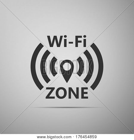 Wi-Fi network flat icon on grey background. Vector Illustration