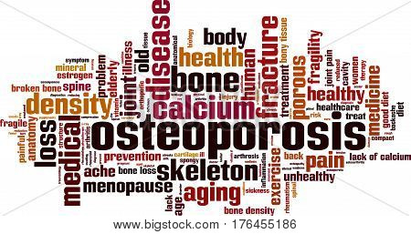 Osteoporosis word cloud concept. Vector illustration on white